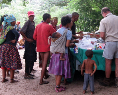 !San villagers buy dry goods, etc. from Nhoma Camp owner
