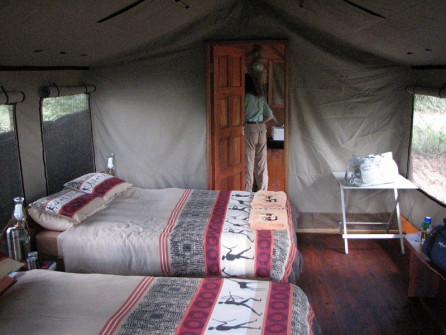 Nhoma tent-cabin's pleasant interior with ensuite bath