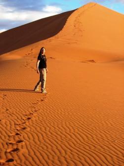 Wendy climbs 1 more dune in Namib-Naukluft desert