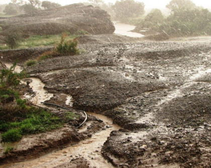 Torrential rain caused flash flood where just a riverbed moments before