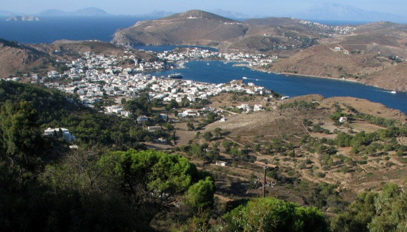 Looking down on Patmos Harbor from  St. John Monastery