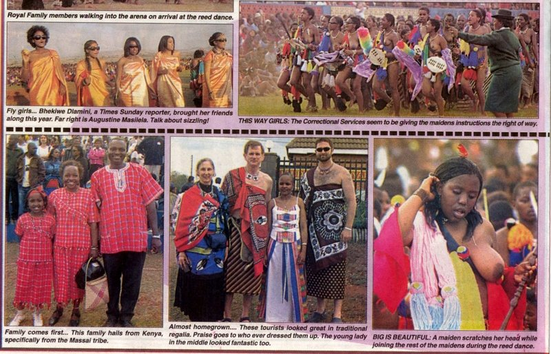 Swazi culture annual reed dance umhlanga real wedding and tourist picture in swazi times of rick wendy adrian and young swazi girl posing after reed dance thecheapjerseys Image collections
