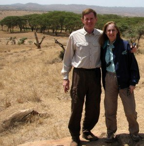 Rick & Wendy overlooking Lewa Downs' savannah